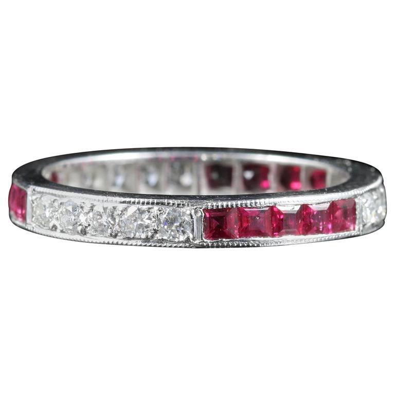 Ruby Diamond Eternity Ring 18 Carat White Gold Old Cut Diamonds