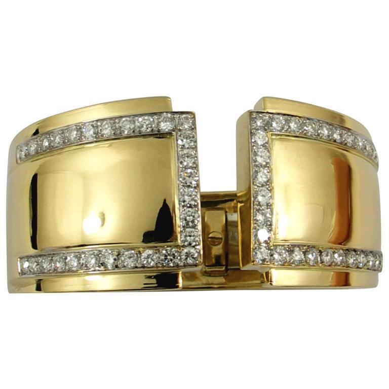 Split Front Wide Diamond Gold Cuff Bracelet