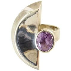 Suzanne Somogy Amethyst Sterling French Modernist Ring