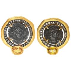 18 Karat Yellow Gold Roman Coin Yellow Sapphire and Diamond Earrings
