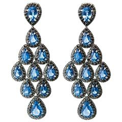 Blue Sapphires and Black Diamonds Chandelier Earrings