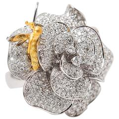 Diamond Yellow and White Gold Flower Fairy Ring