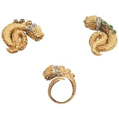 Lalaounis Emerald Diamond Gold Water-Snakes Set