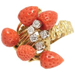 Coral Strawberries Diamond Gold Cocktail Ring