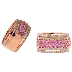 Rose Gold, Pink Sapphire and Diamond Half Eternity Ring