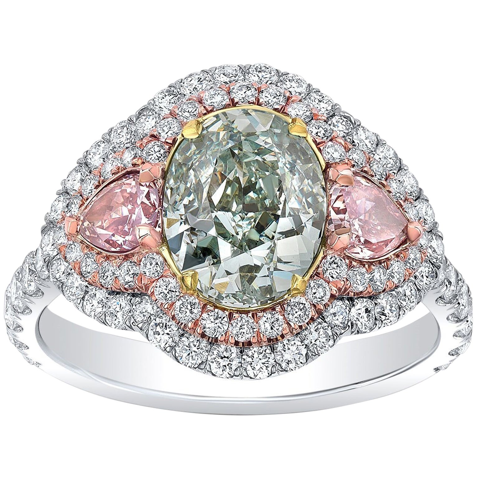 Blue Green Diamond Ring Oval 2.00 Carats GIA Certified