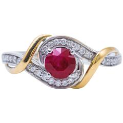 Ruby and Diamonds Two-Tone Gold Engagement Cocktail Ring