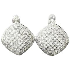 White Gold Cushion Shaped Pave Diamond Earrings