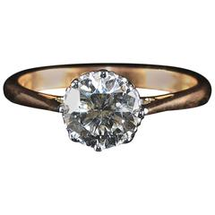 Antique Edwardian Diamond Solitaire 1.50 Carat Diamond Engagement Ring