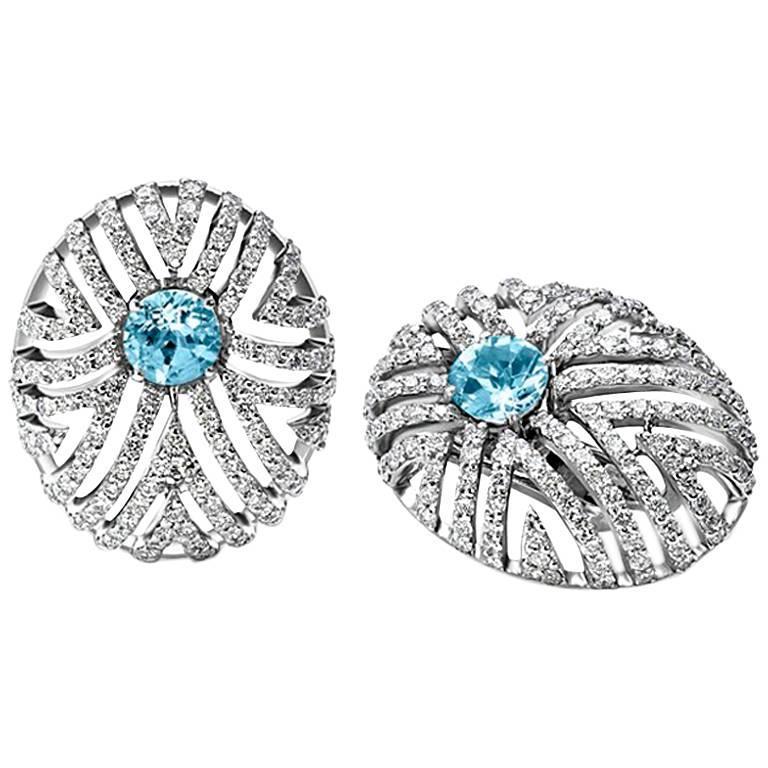 Cassandra Goad Assento Aquamarine and Diamond Earrings For Sale