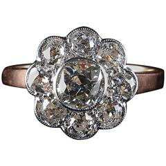 Antique Victorian Diamond Cluster Ring 2.80 Carat Diamonds, circa 1900