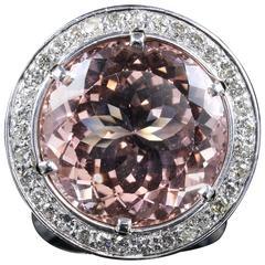 Morganite Diamond Ring Fabulous Large Ring 14 Karat, circa 1940