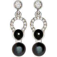 Nathalie Jean Diamond Pearl Onyx Gold Articulated Earrings