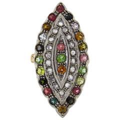 Luise Diamonds Tourmaline Peridots Multicolor Sapphires Cocktail Ring