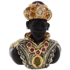Luise Diamonds Ruby Yellow Sapphire Garnet Topaz Ebony Pearl  Ring
