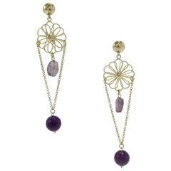 Stones Gold Dangle Earrings