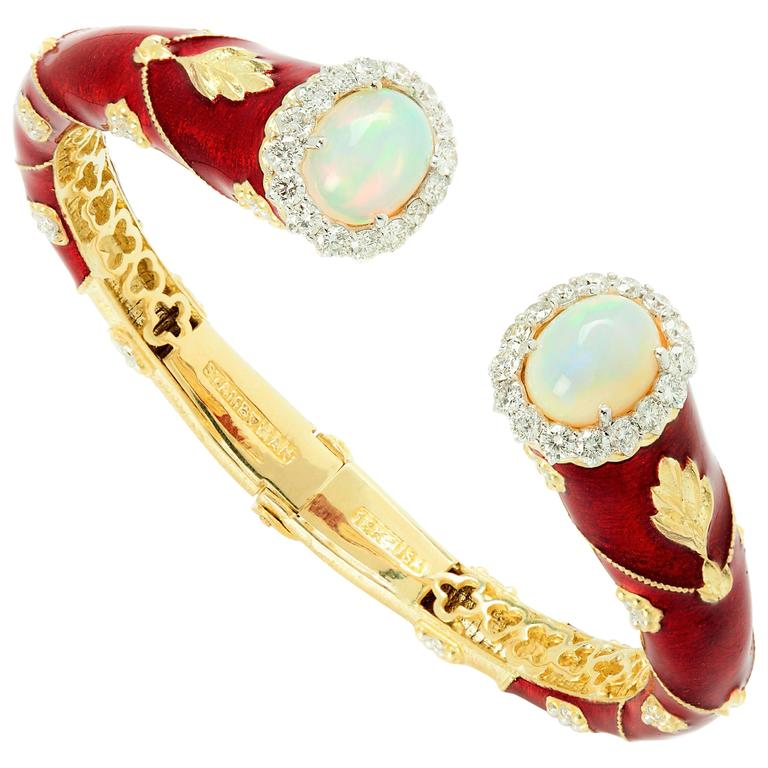 Stambolian Enamel Opal Diamond Bangle Bracelet 1
