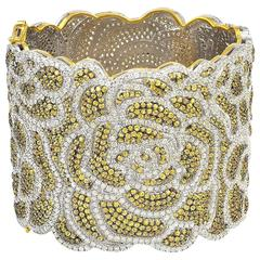 Rose Bangle Bracelet with Diamonds and Yellow Sapphires