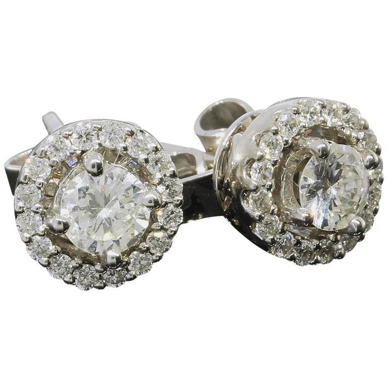 White Gold Round Diamond Halo Stud Earrings 1