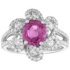 AGL Certified 1.90 Carat Cushion Pink Sapphire Diamond Gold Ring