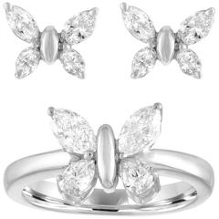1.37 Carats Diamond Gold Butterfly Earrings and Ring Set