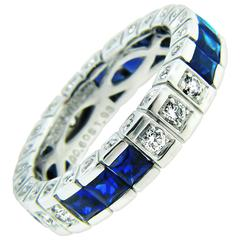 Sapphire Diamond Platinum Enternity Band by Danuta