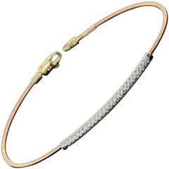 Tri Color Gold Round Diamond Flexible Bangle Bracelet
