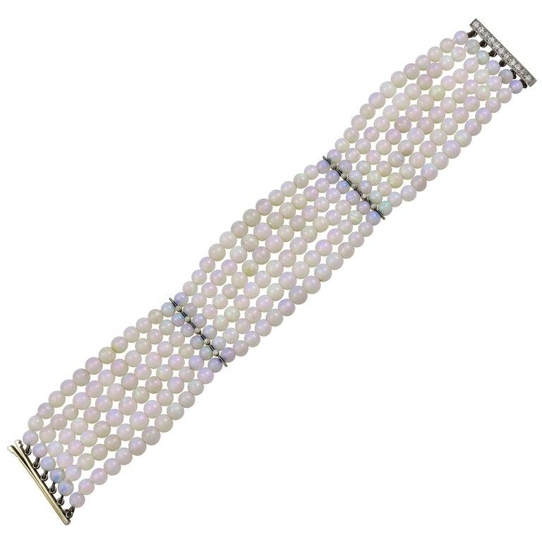 Opal Bead Diamond Clasp Bracelet