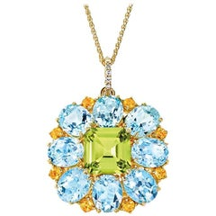 Cassandra Goad Ana Carolina Peridot, Citrine, Blue Topaz and Diamond Pendant