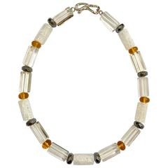 Crystal Amber Hematite Necklace