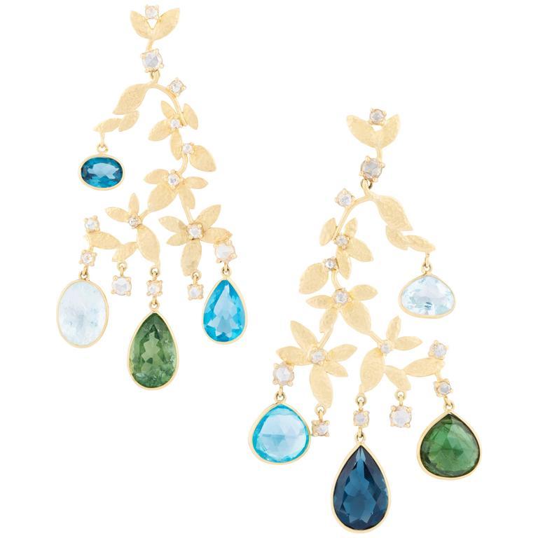 Diamond Green Tourmaline Aquamarine Blue Topaz Chandelier Earrings 1