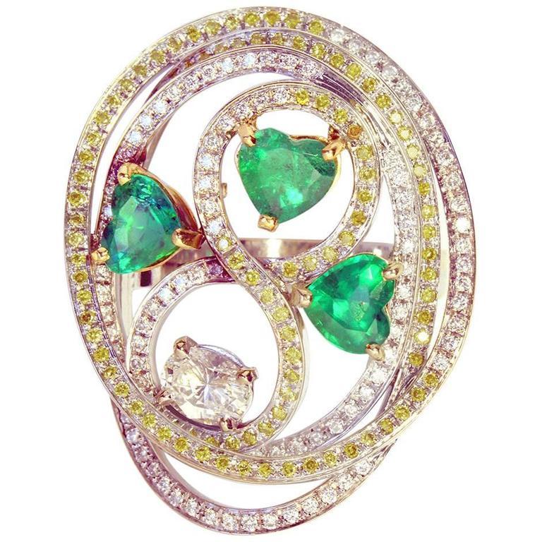 Marion Jeantet Emerald Diamond Gold Tourbillon Ring  For Sale