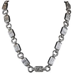 Antique Silver Collar Necklace circa 1880 Lovely Engraving