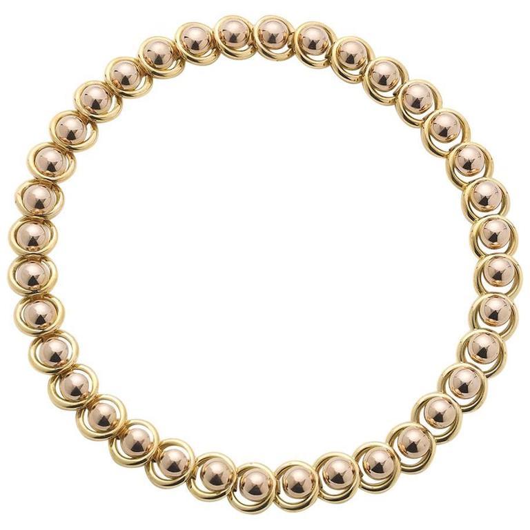 Austrian 18 Carat Gold Ball and Circle Necklace