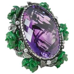 Lydia Courteille 18 Karat White Gold Amethyst Flower Design Cocktail Ring