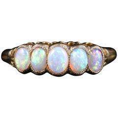 Antique Victorian Opal Ring circa 1880 Natural Opal