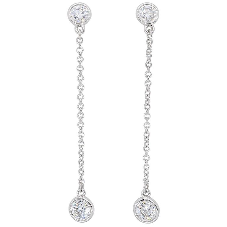 Tiffany & Co. Platinum Diamonds by the Yard Drop Earrings