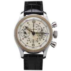 Ernest Borel Stainless Steel Mini Chronograph Manual Wind Wristwatch Ref 707007