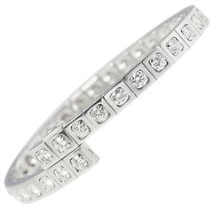 Cartier 18 Karat White Gold Round Brilliant Cut Diamond Tectonique Bracelet