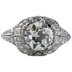 Antique GIA Certified 1.97 Carat Diamond Platinum Ring