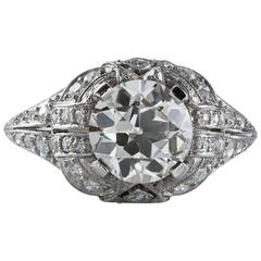 Antique GIA Certified 1.97 Carat Diamond Platinum Ring