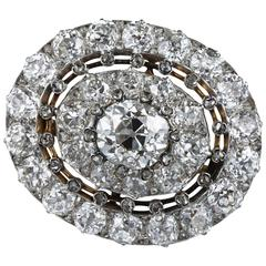 Antique 10.75 Carat Diamond Platinum Gold Brooch