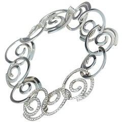 Breguet 18 Karat White Gold Diamond Modern Circle Link Design Bracelet