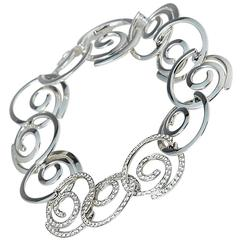 Breguet 18 Karat White Gold Diamond Modern Circle Link Design Bracelet