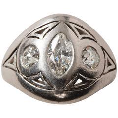 Platinum and Diamond Art Nouveau Ring