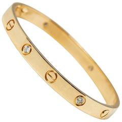 Cartier 18 Karat Yellow Gold 0.60 Carat Six Diamond Love Bracelet