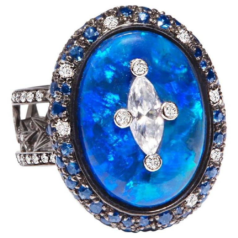 Black Opal Diamond Blue Sapphire Celestial Gold Ring