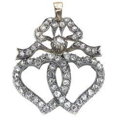 Diamond Double Heart and Bow Pendant, Circa 1880