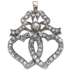 Diamond Double Heart and Bow Pendant