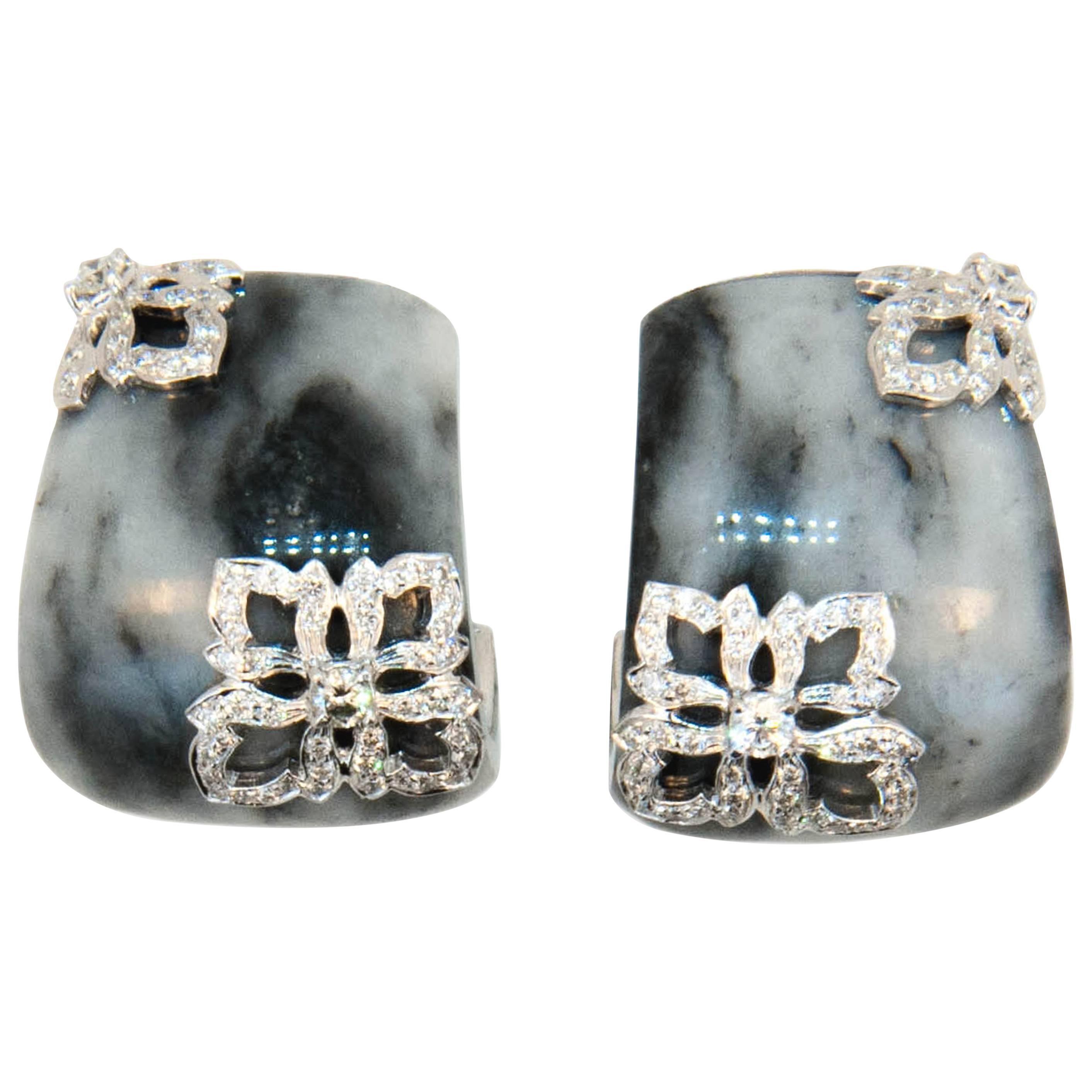 Laura Munder Zebra Jade Diamond White Gold Earrings